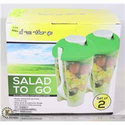 NEW 2 PACK OF SALAD TO GO, SALAD TRAVEL CONTAINER