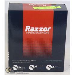 BOX OF NEW RAZZOR DISPOSABLE STRAIGHT RAZORS