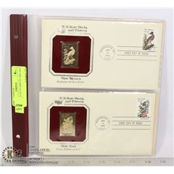 22K GOLD USA STAMPS X2 1RST DAY COVERS