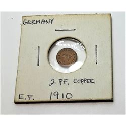 17) GERMAN 2 PHENNIG 1910 COIN.