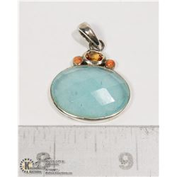 STERLING SILVER .925 GEMSTONE PENDANT 1.5 INCHES