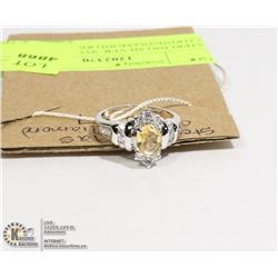 STERLING SILVER .925 CITRINE/DIAMOND RING SZ 7