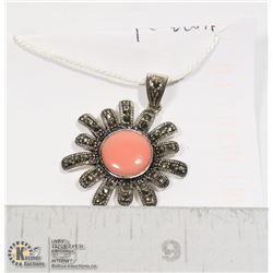 STERLING SILVER .925 CORAL/MARCASITE PENDANT 1 IN