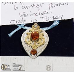 STERLING SILVER .925 AMBER PENDANT 1.5 INCH