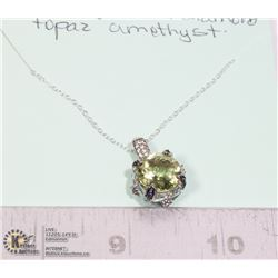 STERLING SILVER .925 GEMSTONE PENDANT AND CHAIN