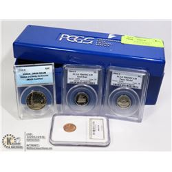 LOT OF 4 PROFESSIONALLY CERTIFIED COINS IN BOX
