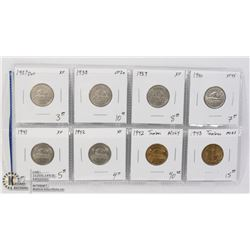8 DIFFERENT HIGH GRADE COLLECTABLE CANADIAN 5CENTS
