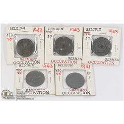 X5 1941/43 WWII GERMAN OCCUPIED COINS