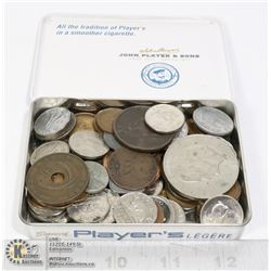 MIXED COIN COLLECTION IN VINTAGE TOBACCO TIN