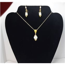 12)  GOLD TONE WHITE PEARL AND CLEAR CRYSTAL