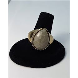 5)  GOLD TOME NATURAL STONE RING, SIZE 8