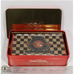 TIN BOX OF NASCAR WINSTON CUP 25TH ANNIVERSARY MATCHES