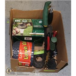 BOX OF GARDENING / GREENHOUSE TOOLS