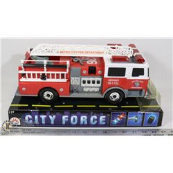 NEVER USED TOY FIRE TRUCK - DAMAGED PACKAGING ONLY