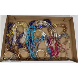 LARGE FLAT OF FASHION NECKLACES AND WATCHES