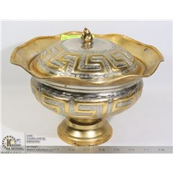 LARGE BRASS LIDDED BOWL 9 INCHES TALL
