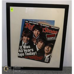 FRAMED ROLLING STONE BEATLES 40 YEAR