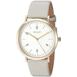 NEW DKNY WHITE DIAL LEATHER STRAP MSRP $199 WATCH.