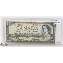 1954 CANADIAN '' DEVIL FACE'' TWENTY DOLLAR BILL