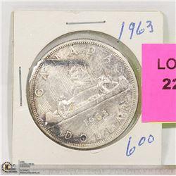 1963 CNDN SILVER DOLLAR COIN