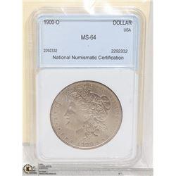 1900-O GRADED MORGAN DOLLAR-NICE TONING