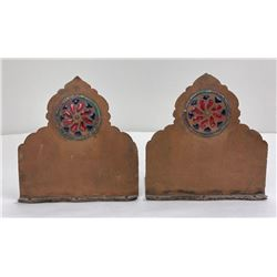 Arts and Crafts Enameled Hammered Copper Bookends