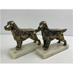 Antique Springer Spaniel Bookends on Marble