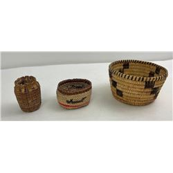 3 Native American Indian Baskets Pima Makah