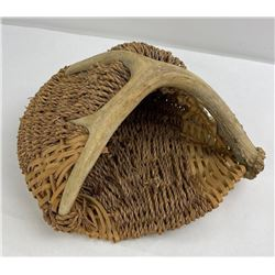 Large Indian Whitetail Deer Antler Basket