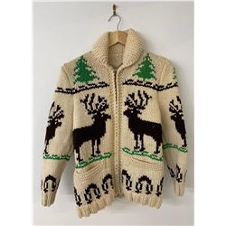 Cowichan Indian Wool Sweater Jacket Elk Forest