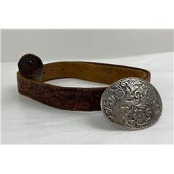 60's Vintage Cowboy Tooled Leather Belt and Buckle