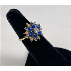 Lapis Lazuli Diamond Ladies 14k Gold Ring