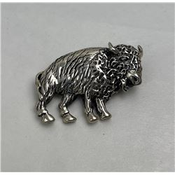 Sterling Silver Buffalo Pin Brooch 13.75 grams