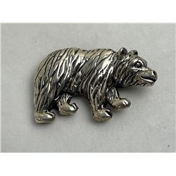 Sterling Silver Grizzly Bear Brooch Pin 10 Grams
