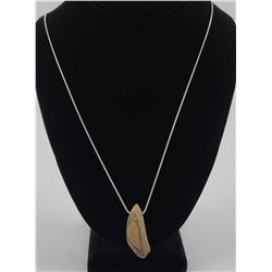 Eskimo Scrimshaw Fossilized Whale Tooth Necklace