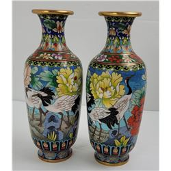 Pair of Chinese Cloisonné Vases Stork Pattern