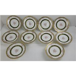 "Set of 10 Haviland Limoges 9"" Painted Plates"