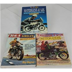 Lot of 3 Roy Bacon Motorcycle Books BSA Triumph AJ