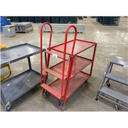 RED METAL MOBILE 3 TIER, 3 STEP INDUSTRIAL PRODUCT CART
