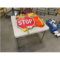 FOLDING TABLE WITH ASSORTED SAFETY VEST & STOP SIGN