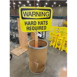 WARNING HARD HAT REQUIRED SAFETY BIN WITH ASSORTED HARD HATS