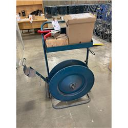 BLUE METAL INDUSTRIAL PLASTIC BANDING CART WITH TOOLS