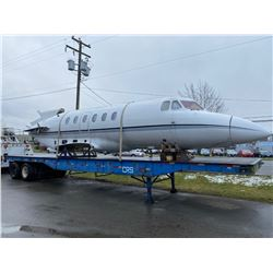 1980 BRITISH AEROSPACE 700 HAWKER EXECUTIVE JET WITH 45 FOOT STEEL DECK TRAILER HONEYWELL