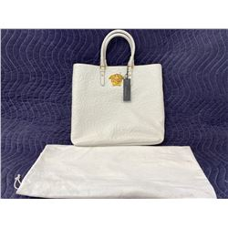 VERSACE WHITE AND GOLD TOTE BAG WITH DUST BAG (AUTHENTICITY REPORT INCLUDED)