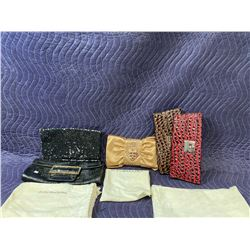LOT OF 5 CLUTCHES, SOME WITH DUST BAGS, 2 SNAKE PRINT BAGS LOCKED