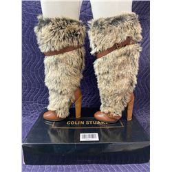 COLIN STUART BROWN AND FAUX FUR BOOTS SIZE 7 IN BOX