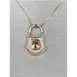PEOPLES 14KT ROSE GOLD AND .925 SILVER PENDANT ON SILVER CHAIN