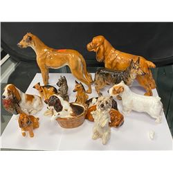 COLLECTION OF ROYAL DAULTON DOG FIGURINES (SOME REPAIRED)