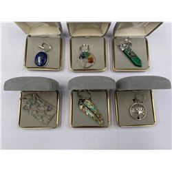 6 PENDANTS IN BOXES; 2 TREE OF LIFE, LAPIS LAZULI, ABALONE SHELL, 7 CHAKRA TREE OF LIFE, MALACHITE