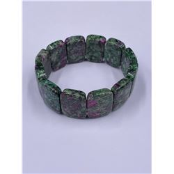 RUBY IN FUCHSITE OBLONG STRETCHY BRACELET7.5MM, 24 X 18 X 7MM